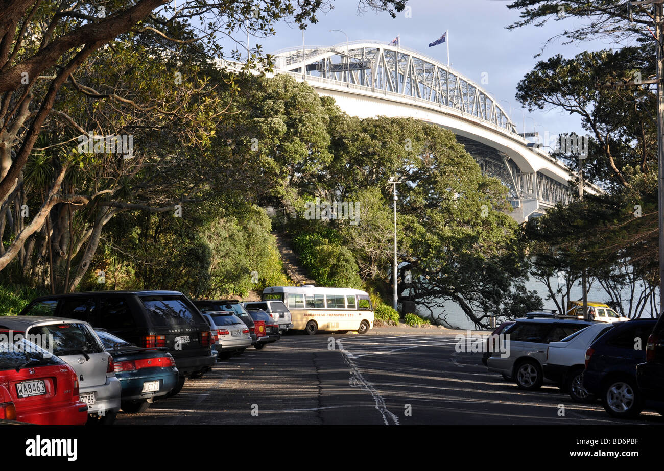 Vistas of the Auckland harbour bridge taken from Northcote Point. - Stock Image