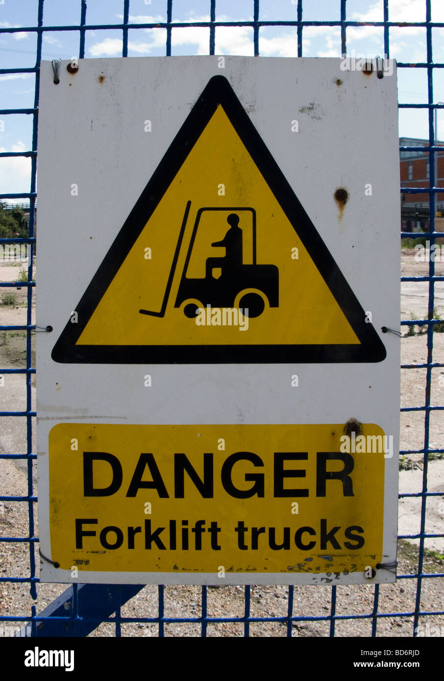 forklift truck sign Stock Photo