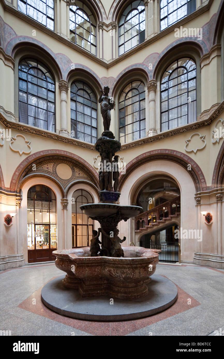 fountain in Freyung Passage, Palais Ferstel, Vienna, Austria - Stock Image