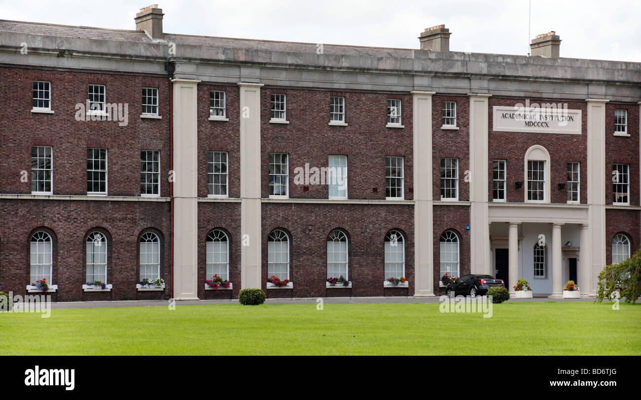Facade of the Royal Belfast Academical Institution, also known as RBAI or Inst, in Osborne Park in central Belfast. - Stock Image