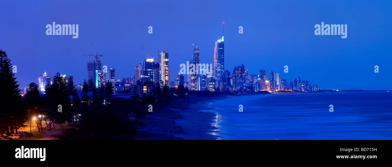 Gold coast Australia night skyline - Stock Image