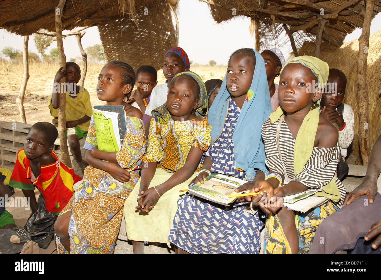 School children during lessons, at Lagdo Lake, northern Cameroon, Cameroon, Africa - Stock Image