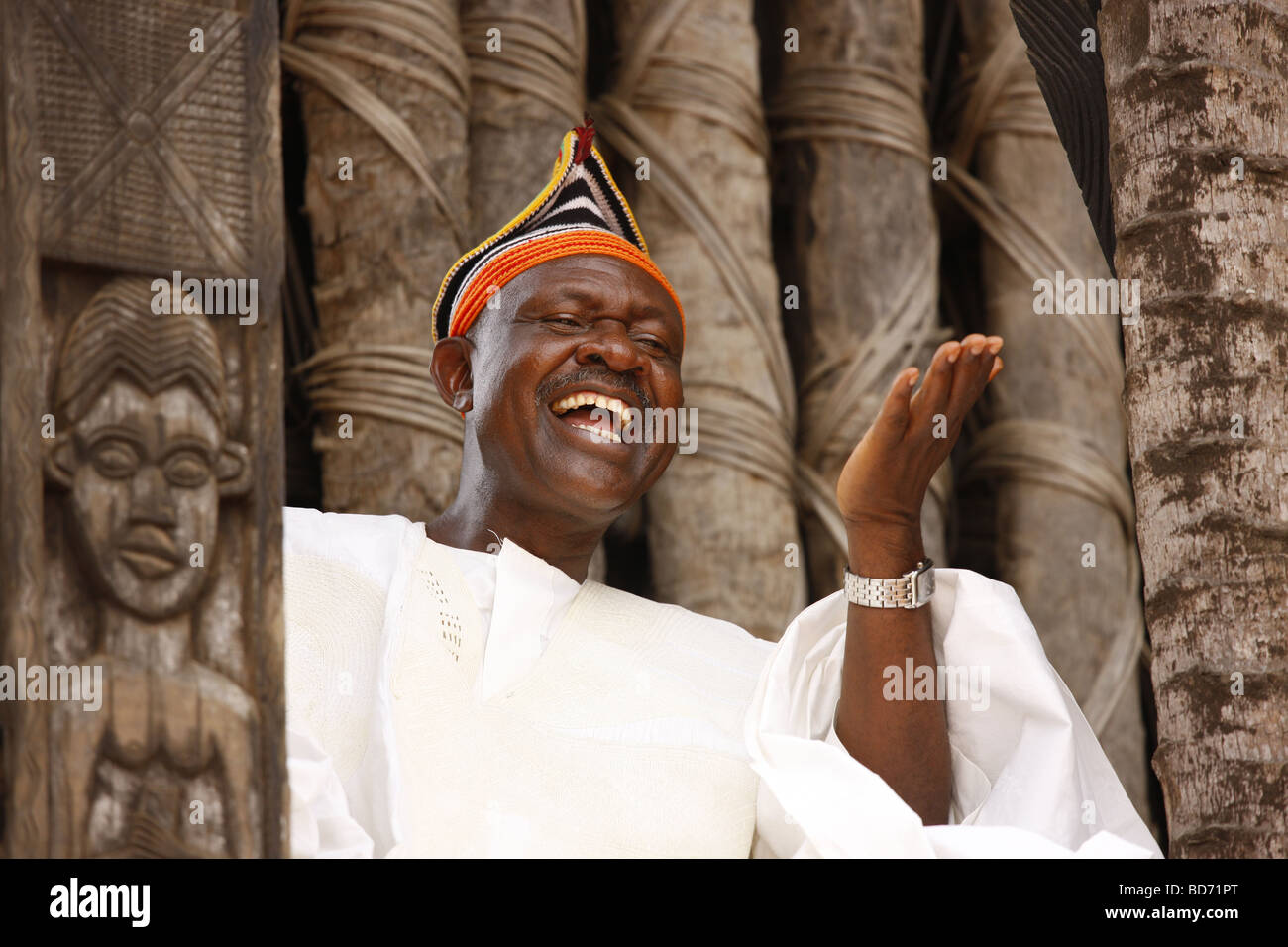 Fon Abumbi II, ruler and judge, chief farmstead, Bafut, West Cameroon, Cameroon, Africa - Stock Image