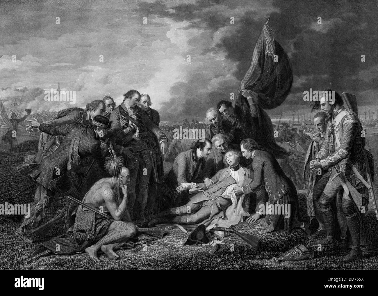 The death of General Wolfe lying mortally wounded, surrounded by soldiers and a Native, during the siege of Quebec - Stock Image