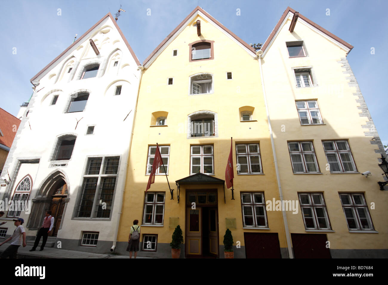 Wide Angle view of the Three Sisters Hotel in Old Town Tallinn, Estonia, an upscale hotel - Stock Image