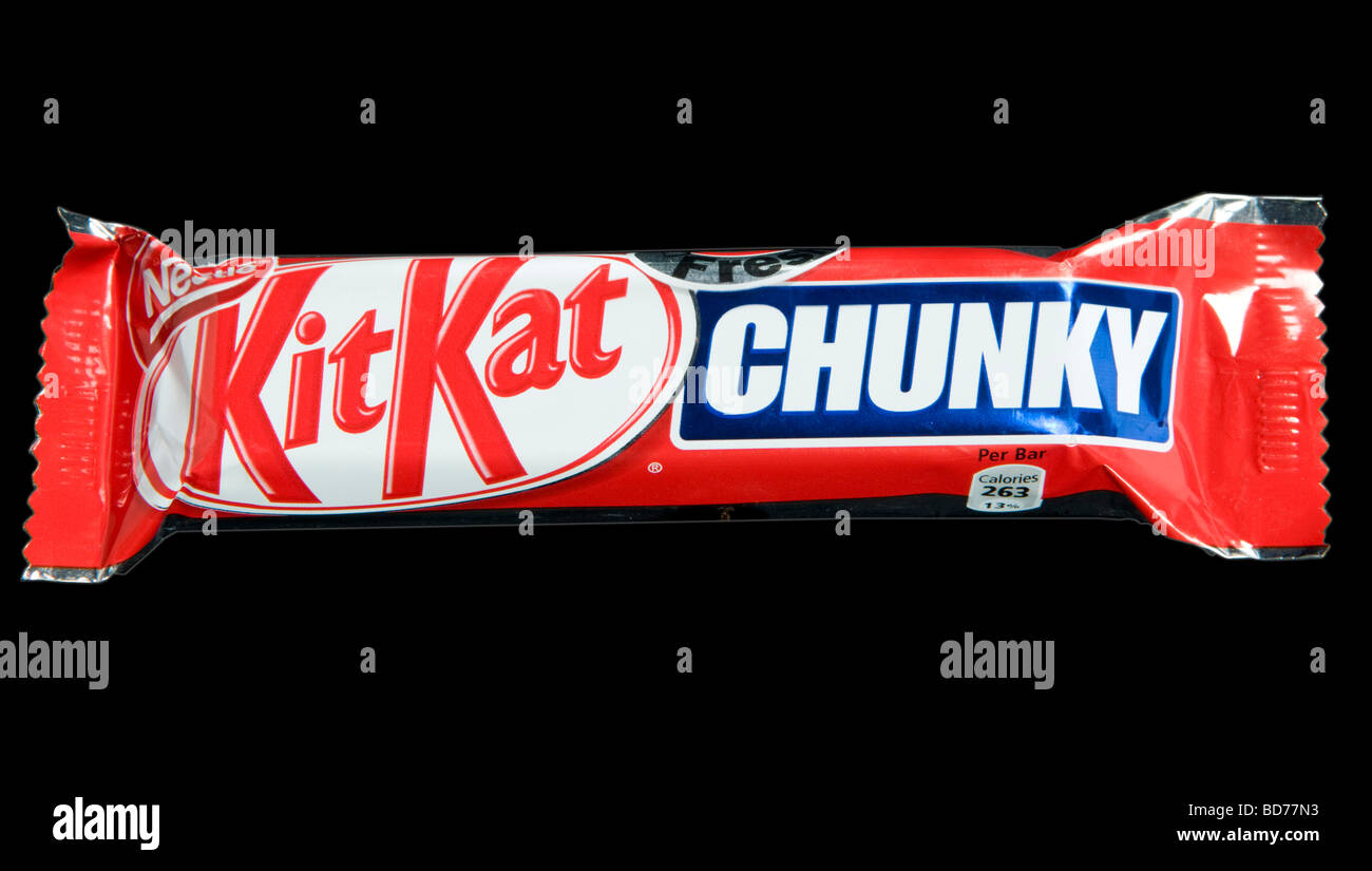 Nestle Kit Kat Chunky Chocolate Bar Shot In Studio - Stock Image