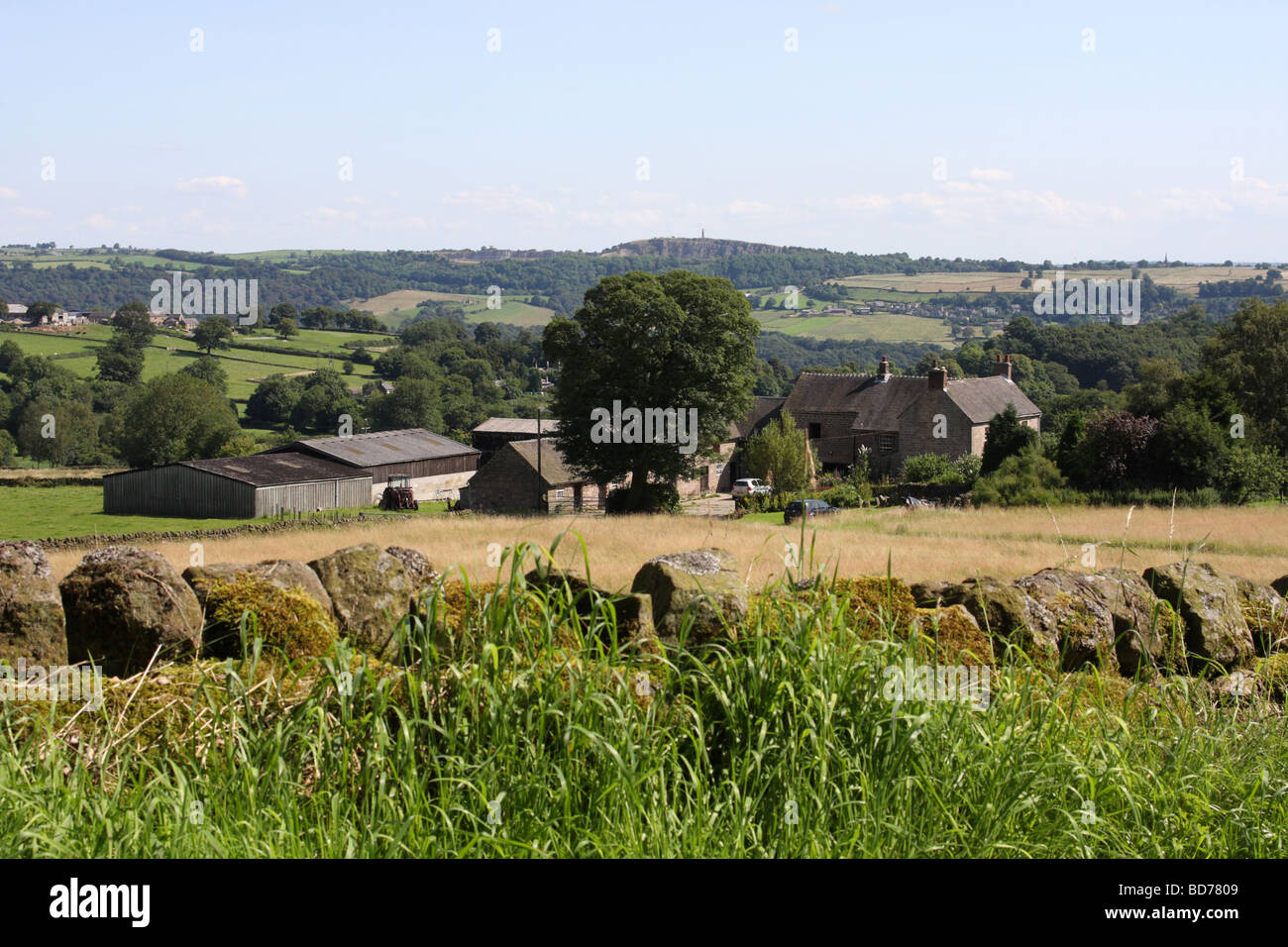 A farm and surrounding countryside in Derbyshire, England, U.K. - Stock Image