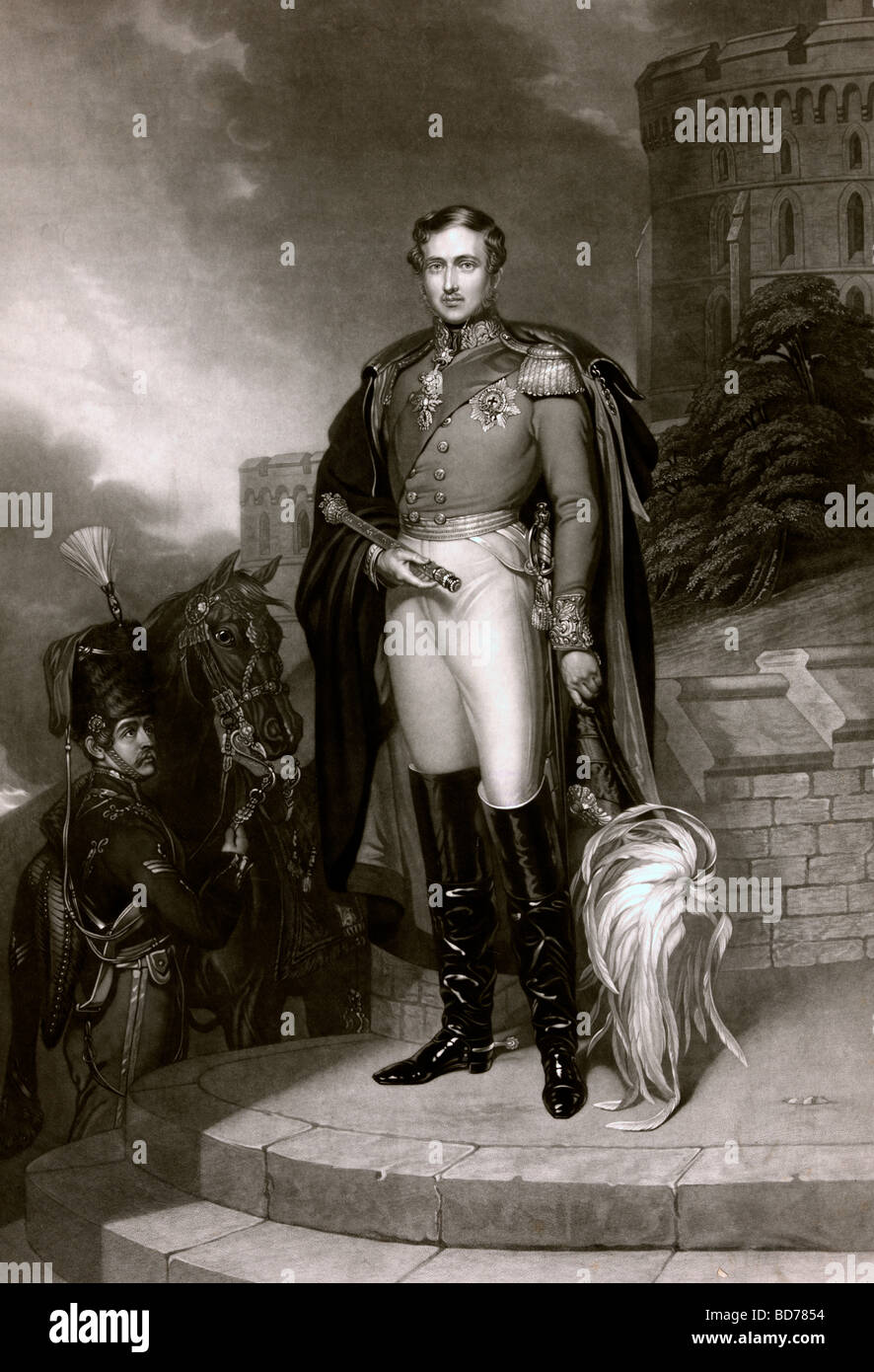 Prince Albert, full-length portrait, standing, facing front, holding scepter and hat. - Stock Image