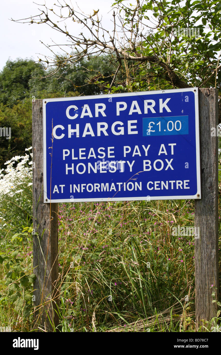 A car park charges sign in the U.K. - Stock Image