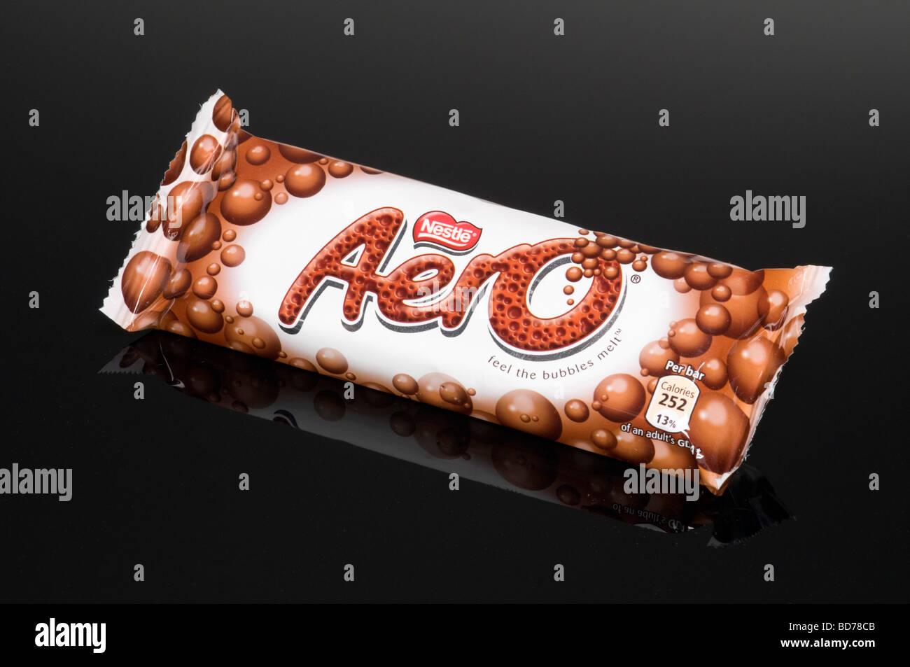 Nestle Aero Chocolate Bar On Black Background Shot In Studio - Stock Image