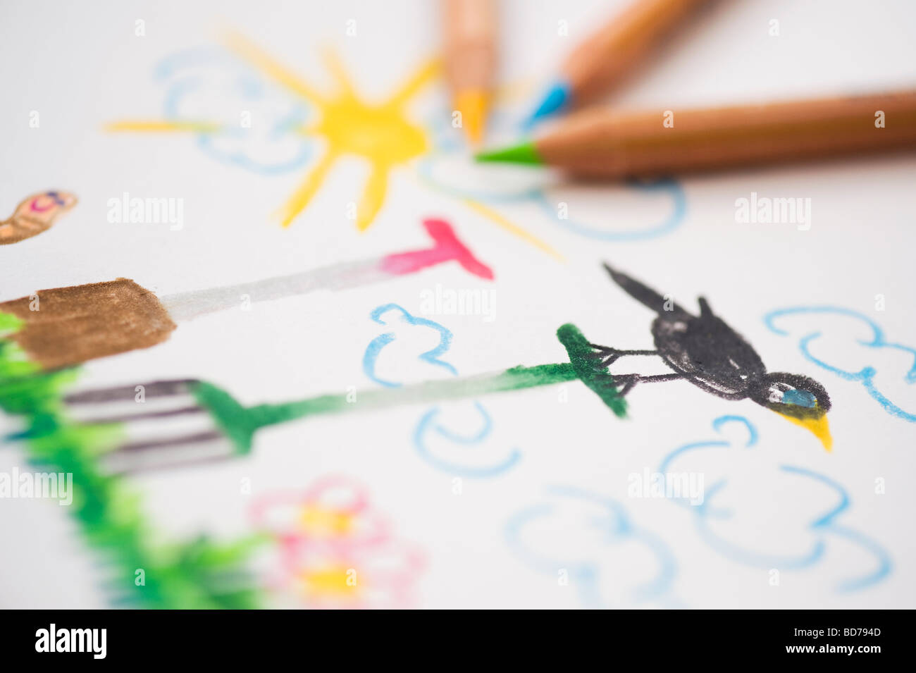 Garden scene with garden tools, child's drawing with coloured pencils - Stock Image