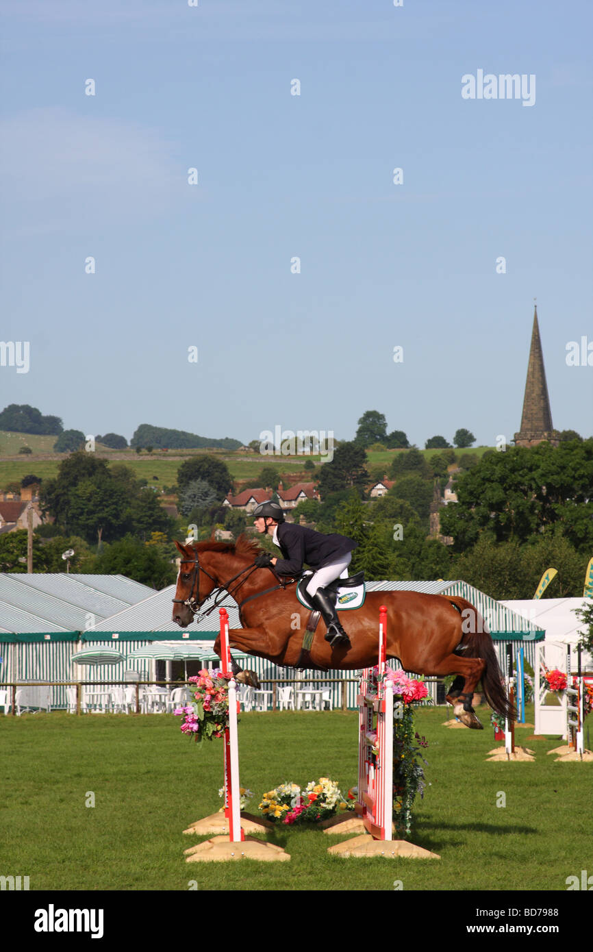 Show jumping at the Bakewell Show, Bakewell, Derbyshire, England, U.K. - Stock Image