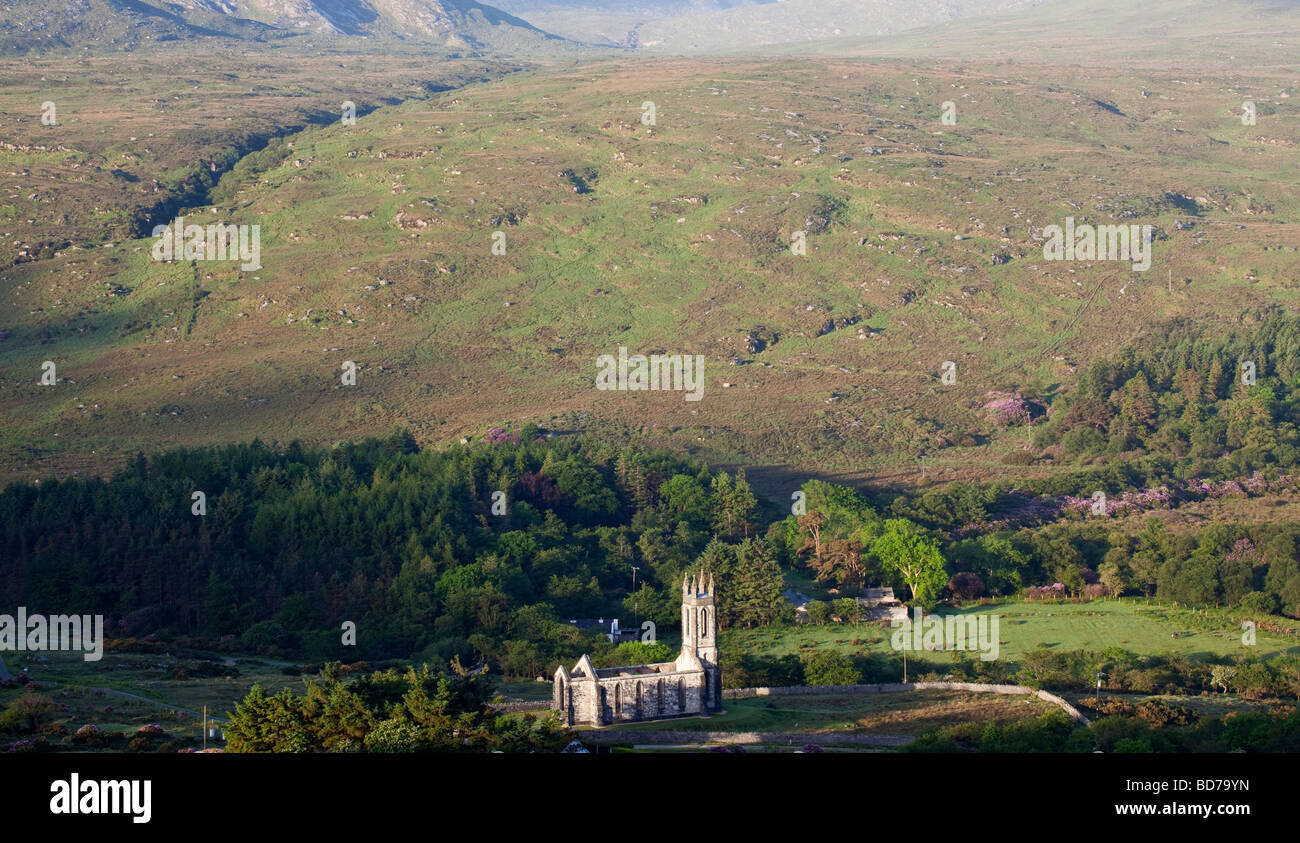 View over looking the Poison Glen and the ruined church Dunlewy County Donegal Ireland - Stock Image