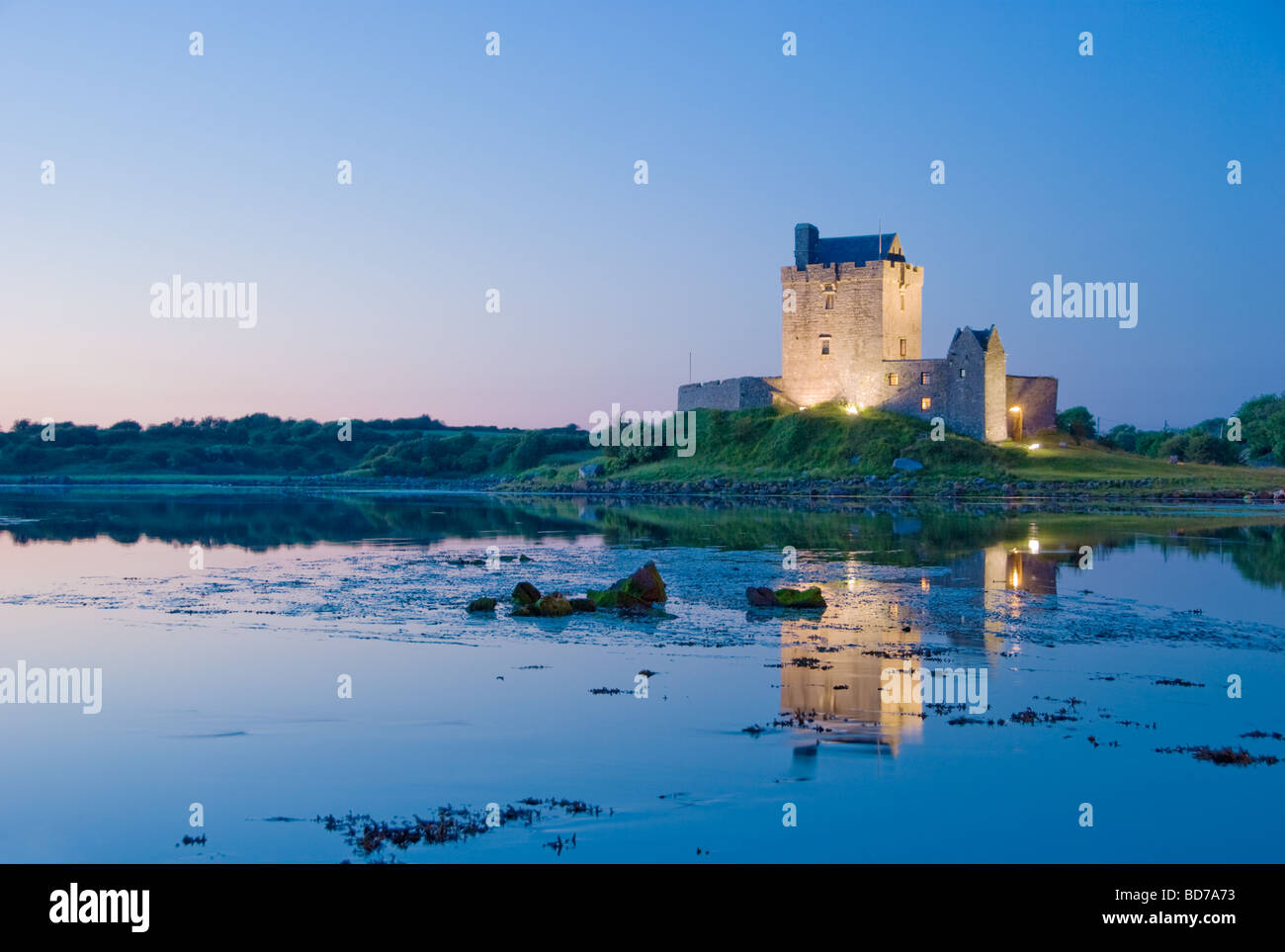 Dunguair Castle at Sunset - Stock Image