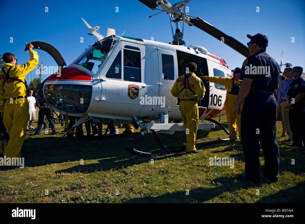 CAL Fire CDF - California Department of Forestry and Fire Protection training exercise with San Jose, CA Fire Department - Stock Image