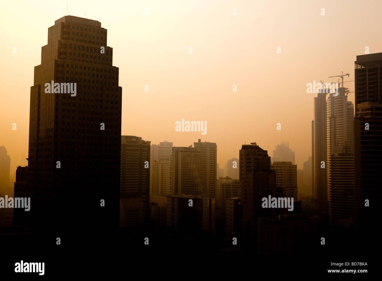 Sukhumvit Business District at Sunrise Bangkok Thailand - Stock Image