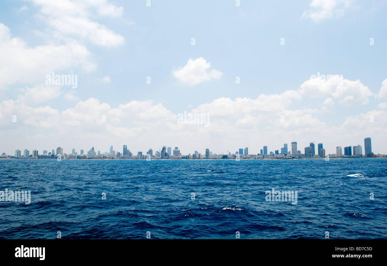 Israel Tel Aviv skyline as seen from the west Mediterranean sea - Stock Image