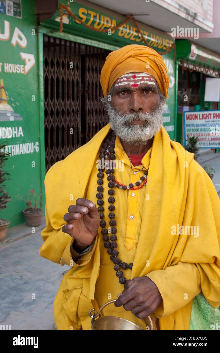 Bodhnath, Nepal.   Hindu Sadhu, or Holy Man. - Stock Image