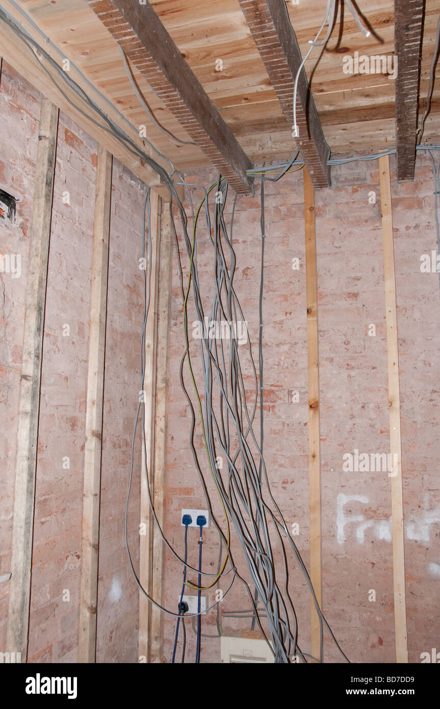 new electrical wiring in a house renovation project stock photo rh alamy com Car Wiring Basic Electrical Wiring Diagrams
