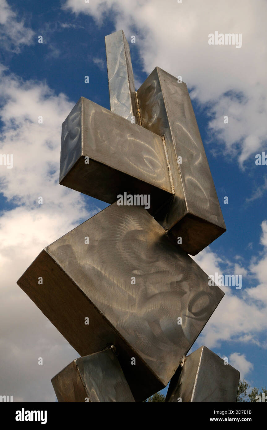 Stainless steel Cubi VI sculpture by American artist David Smith1906-1965 in the Billy Rose sculpture garden of Stock Photo