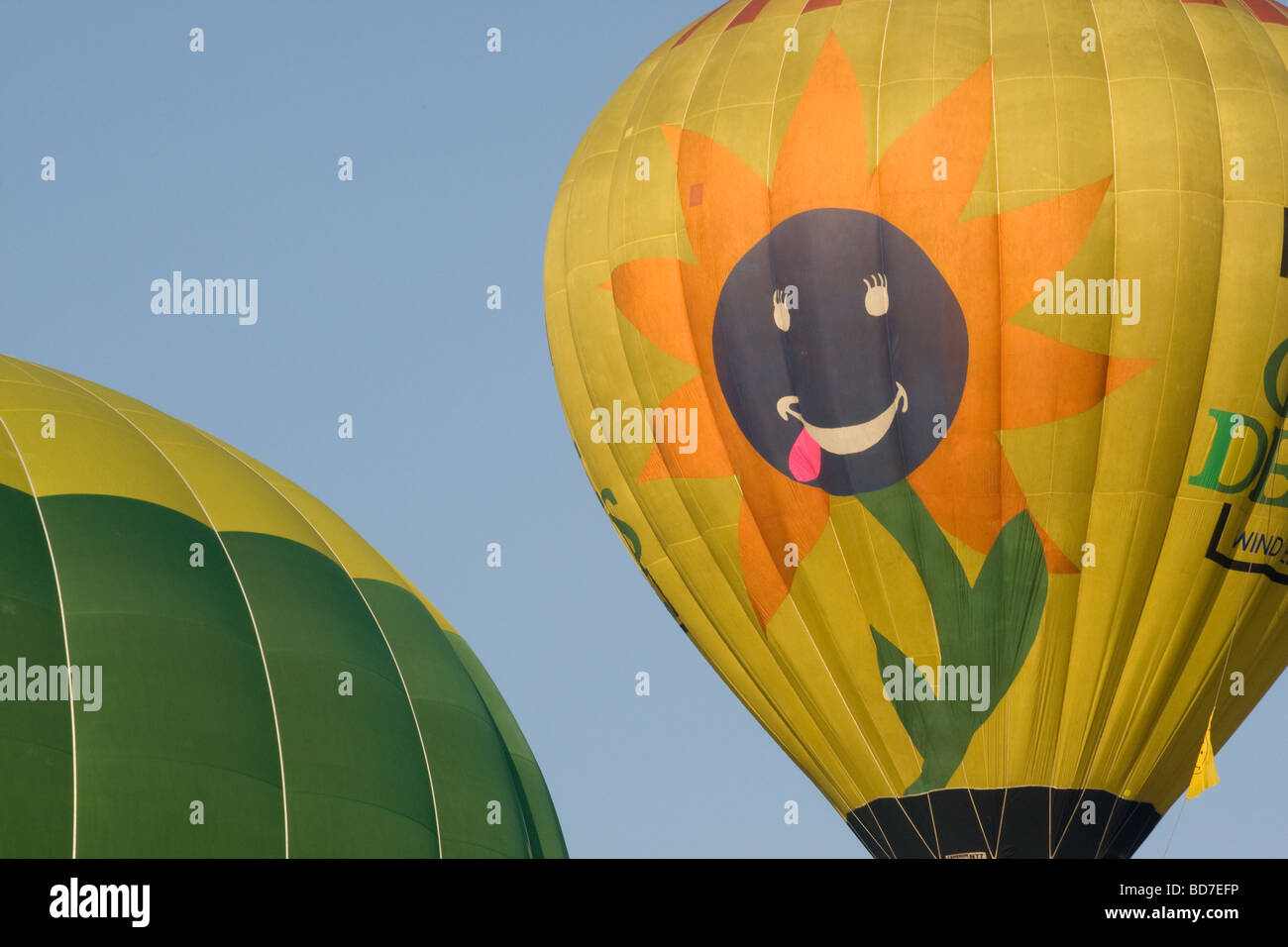 Bristol Hot-air Balloon Fiesta 2009, balloon with a sunflower and smiling face Stock Photo