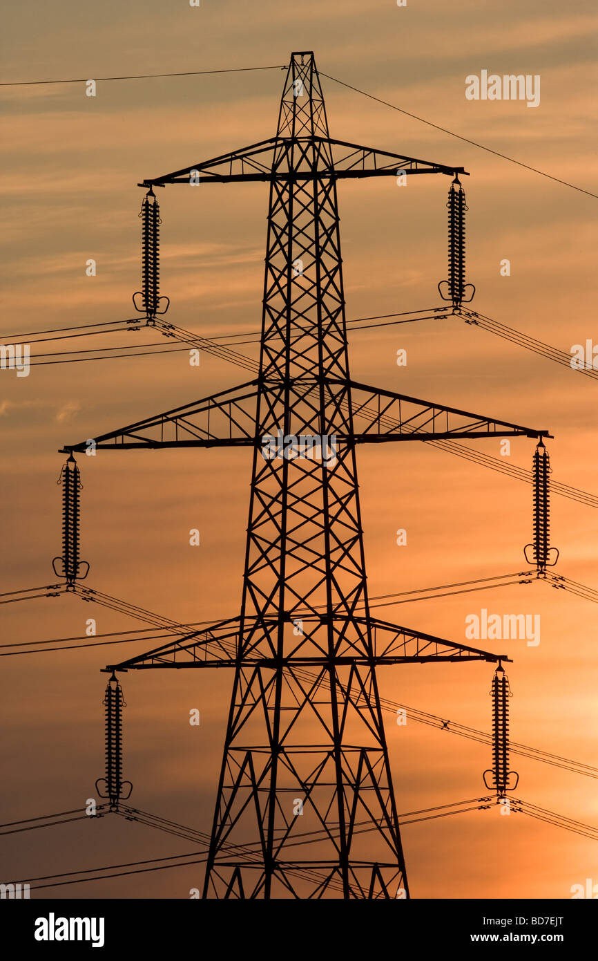 Power Station Electricity Pylons - Stock Image