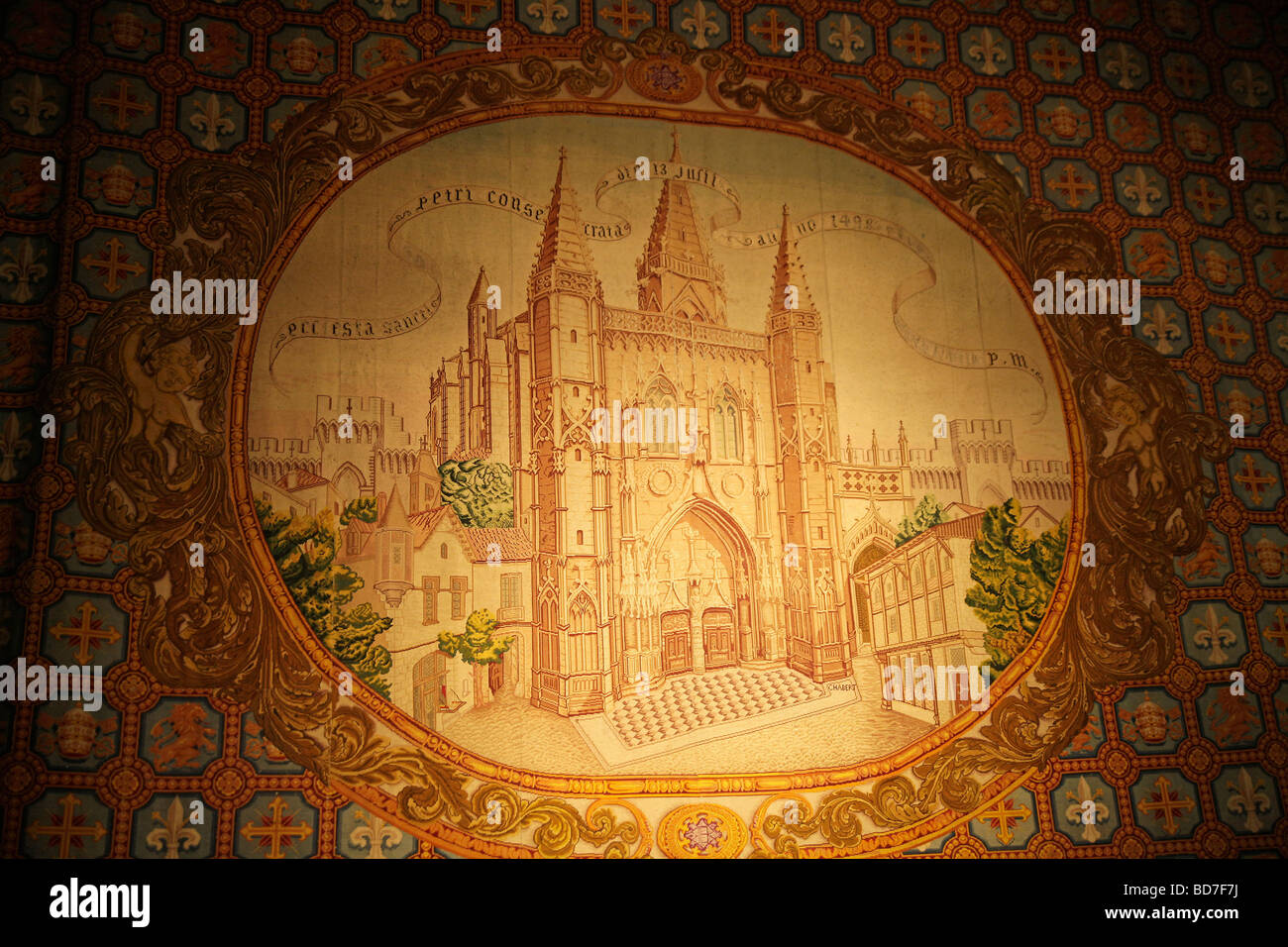 tapestry with church image inside Saint Pierre church in Avignon Provence France Europe - Stock Image