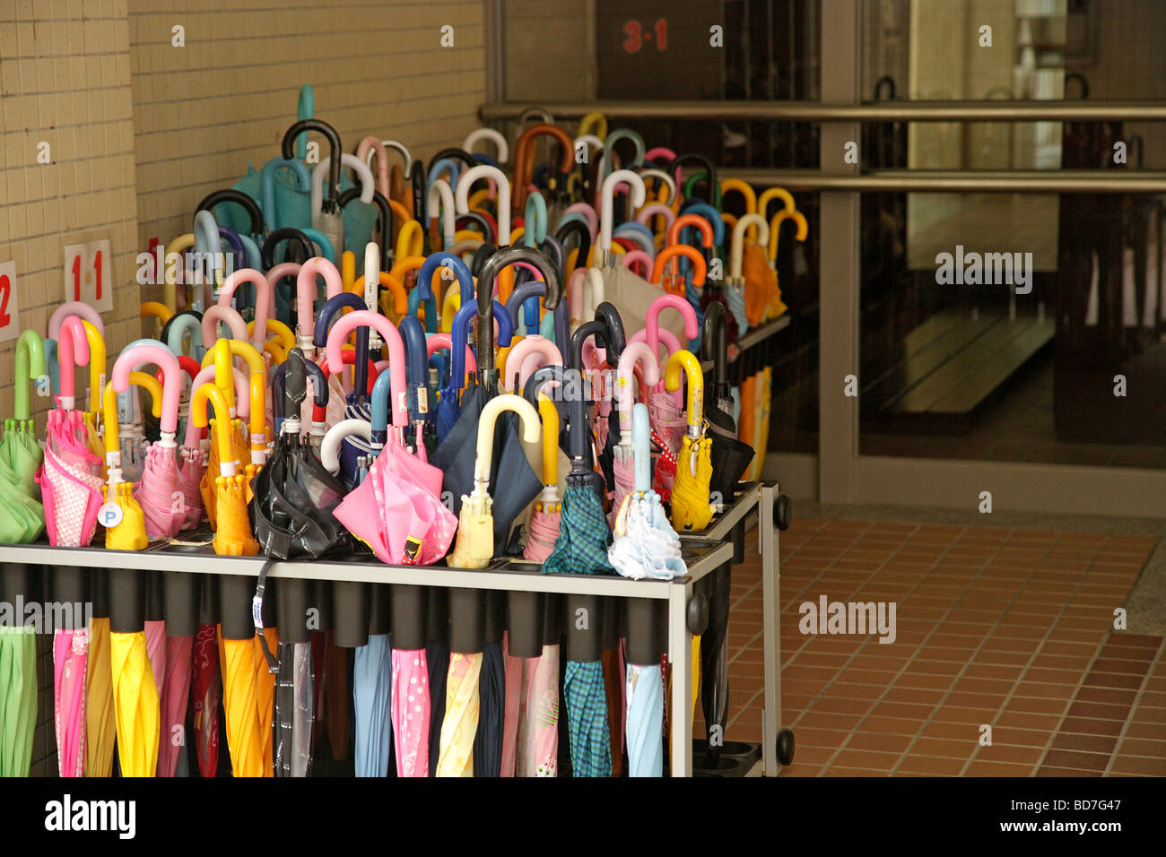 Kyoto. Kansai. Japan. Umbrellas in a primary school Stock Photo