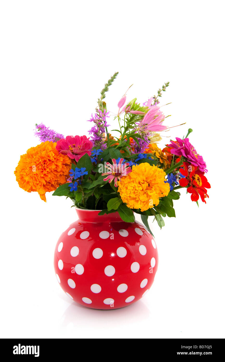 Cheerful summer bouquet flowers in speckles vase - Stock Image