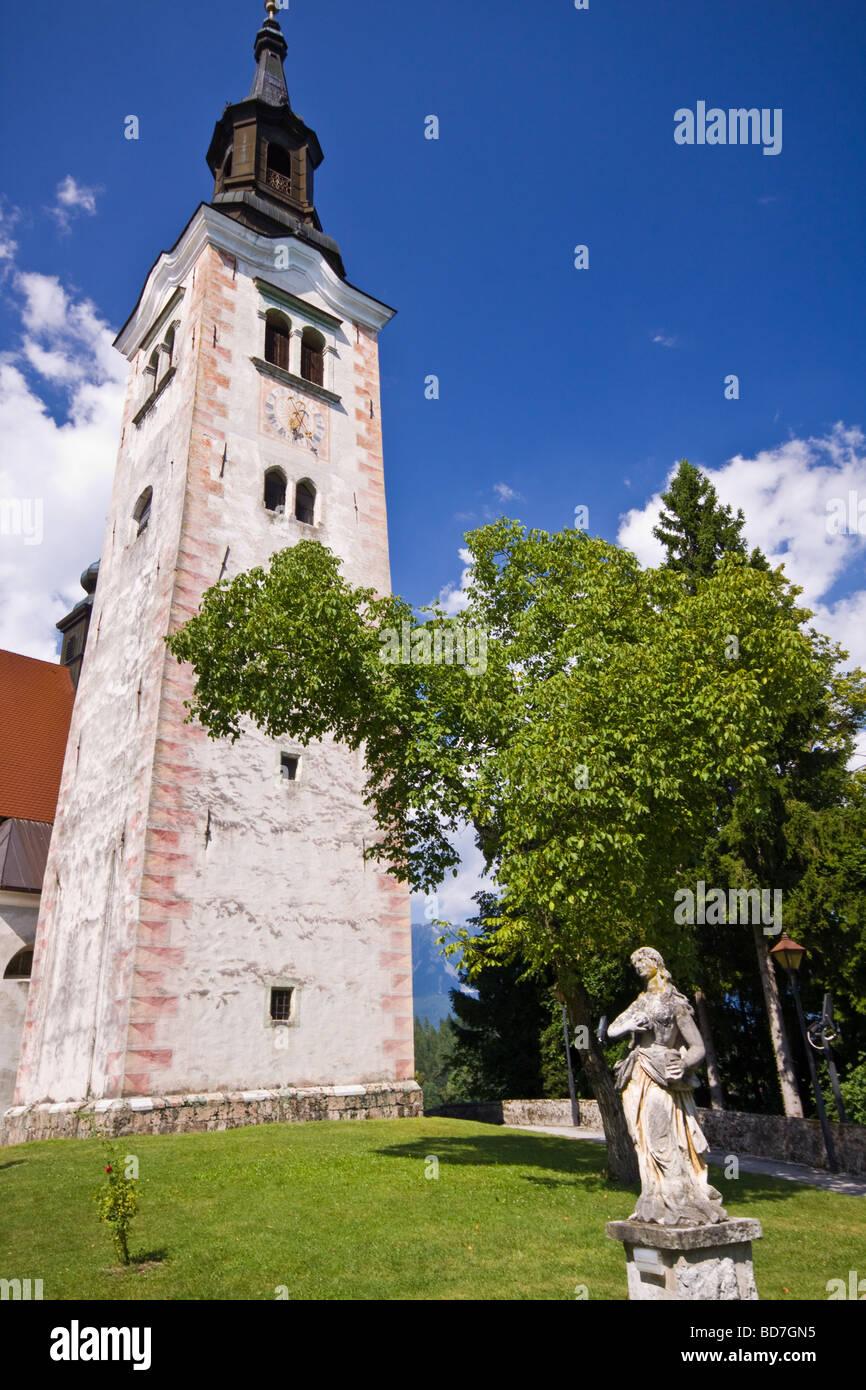 Santa Maria Church on Island in Lake Bled Slovenia - Stock Image