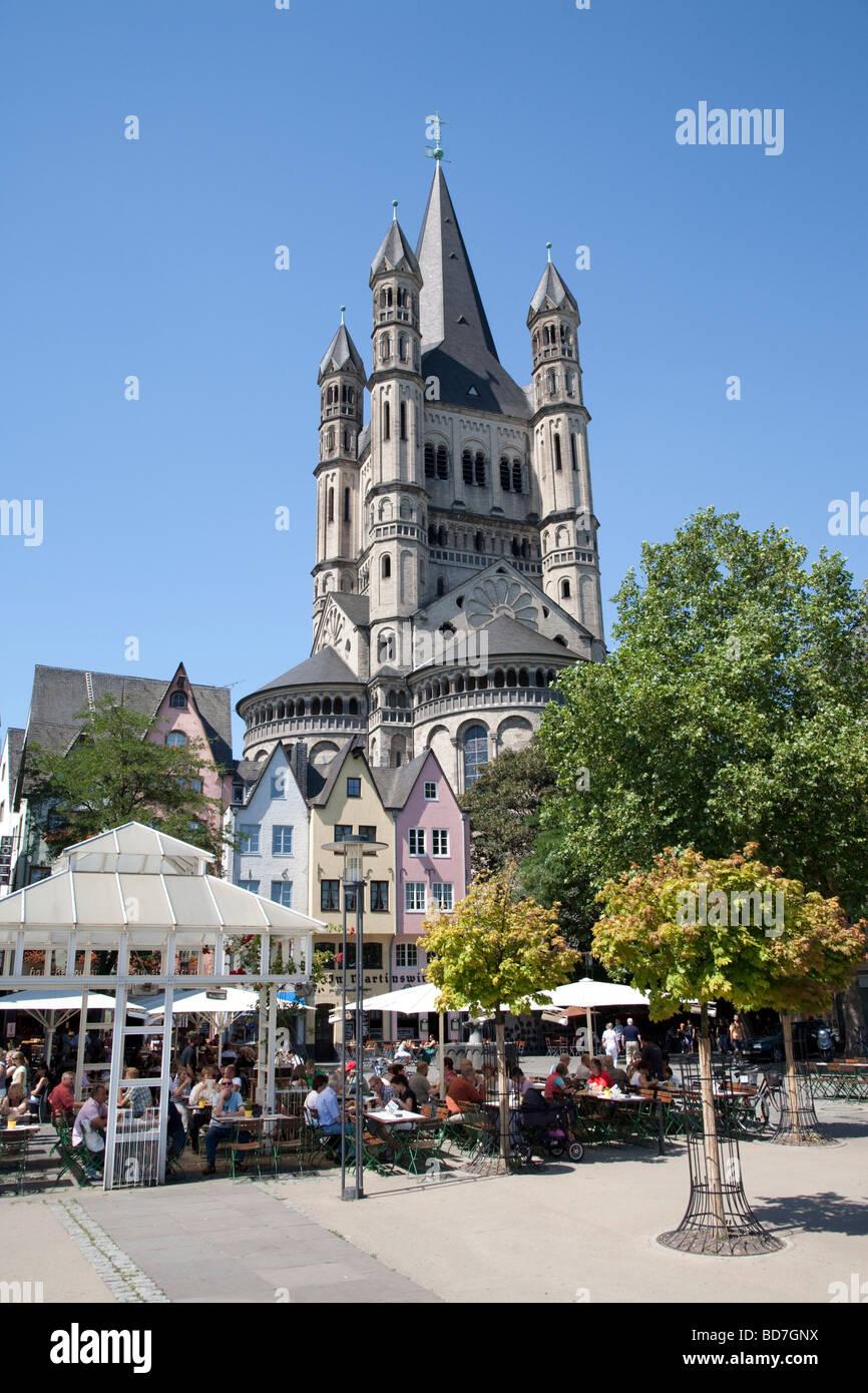 Gross St Martin Church Rheingarten Altstadt Historic Old Town Cologne Germany - Stock Image