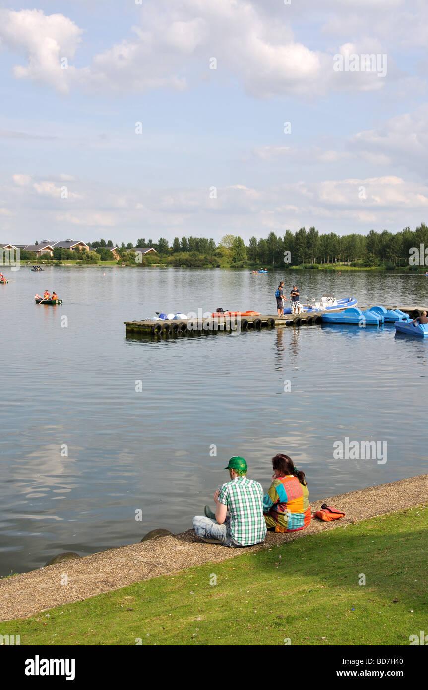 Boat-hire on lake, Willen Lakeside Park, Milton Keynes, Buckinghamshire, England, United Kingdom - Stock Image
