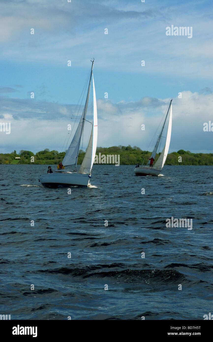 Sailing Boats on Lough Ree, River Shannon, Ireland Stock Photo