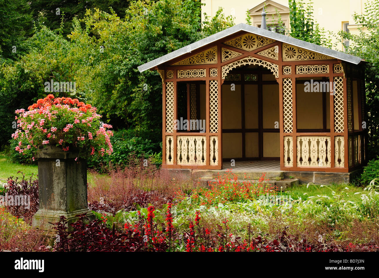 Hut and Garden near the Villa Wahnfried, the Richard Wagner museum in Bayreuth, Bavaria, Germany - Stock Image