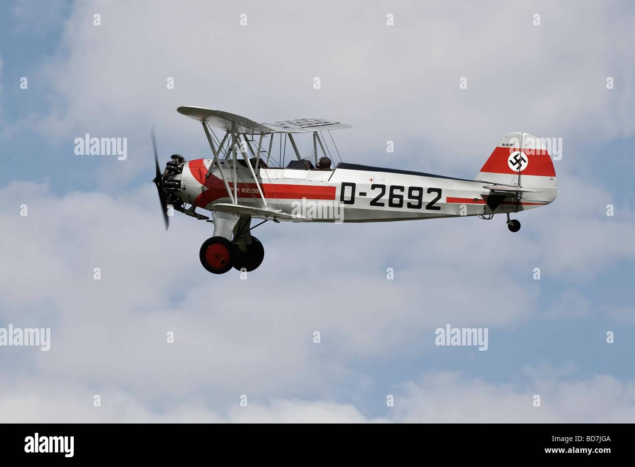 A Focke Wulf Fw44 Stieglitz training aircraft of the Luftwaffe - Stock Image