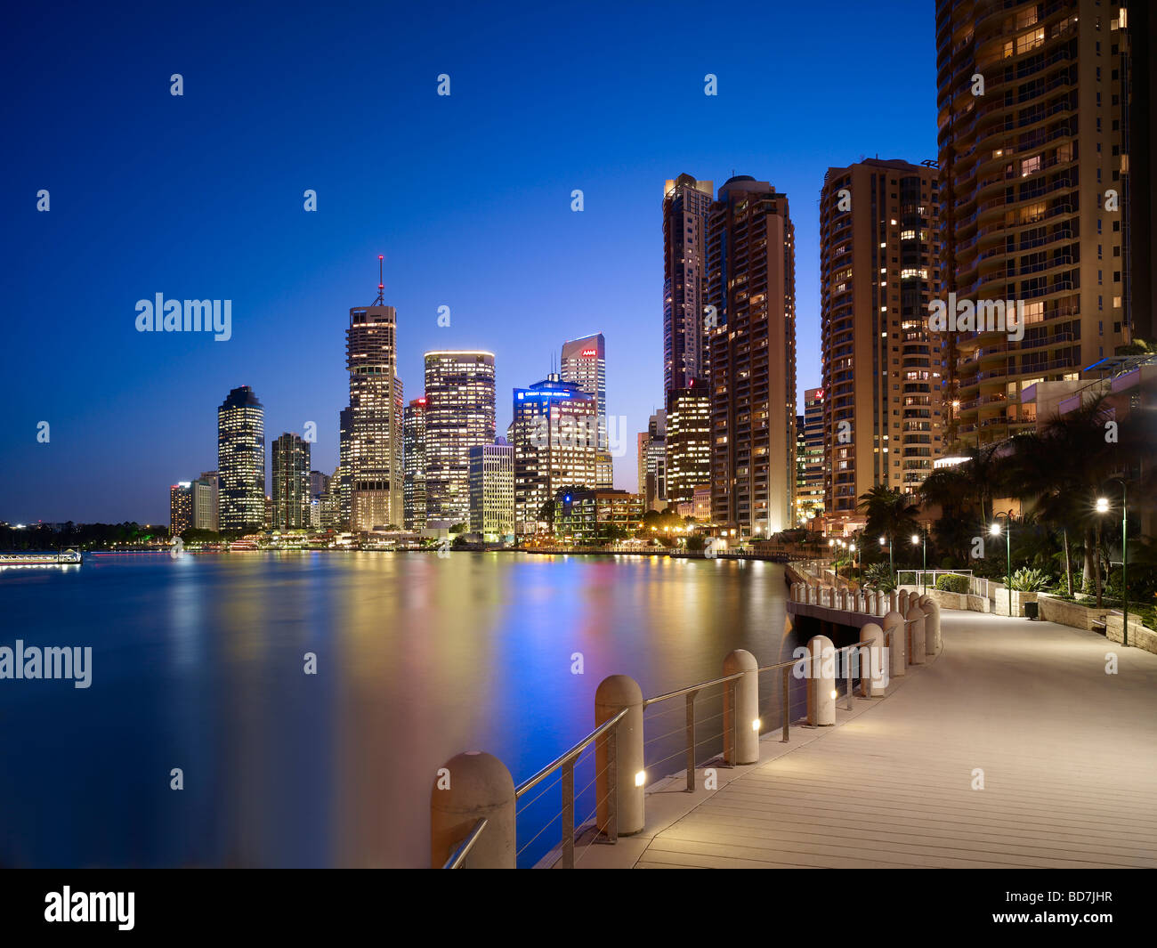 Brisbane Australia Central Business District at night - Stock Image