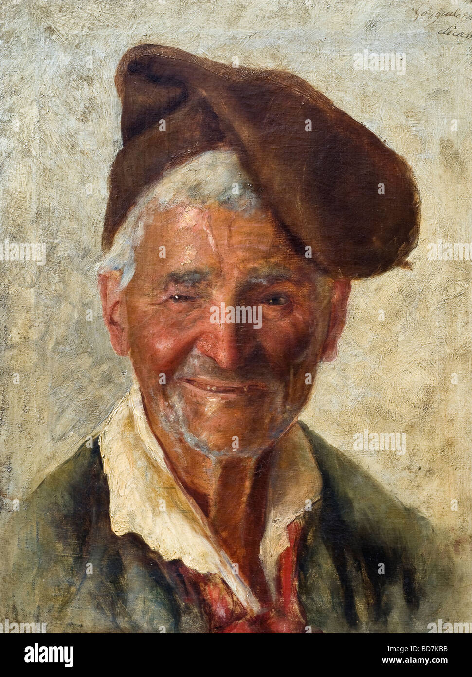 19th Century Italian oil painting of bright alert happy Neapolitan fisherman - Stock Image