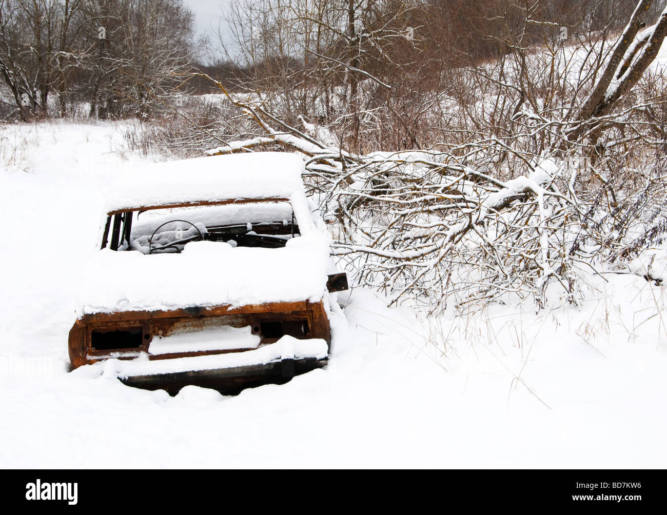 Deserted car, Leningrad region, Russia - Stock Image