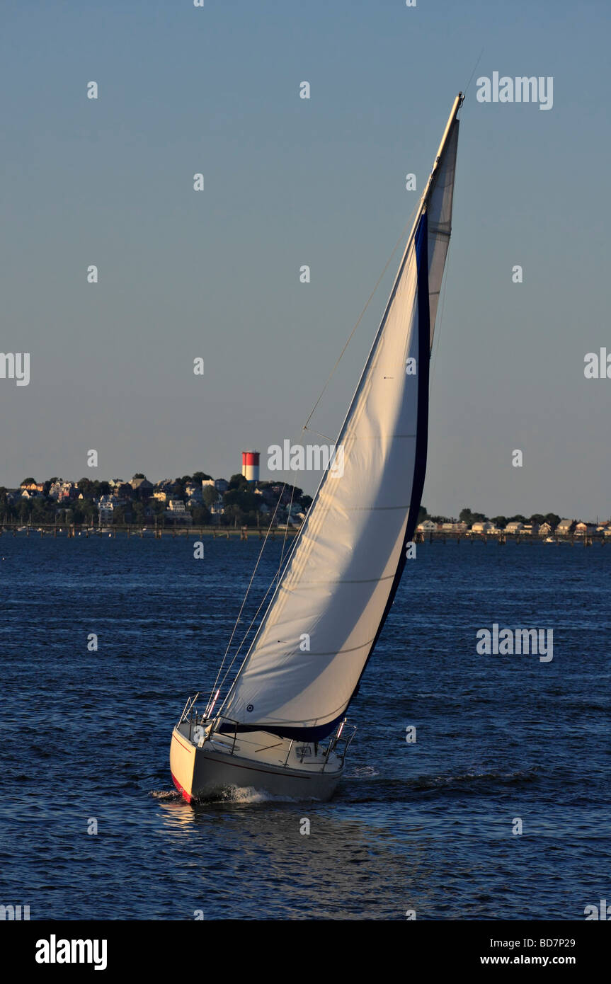 Sailboat heeling to port. - Stock Image