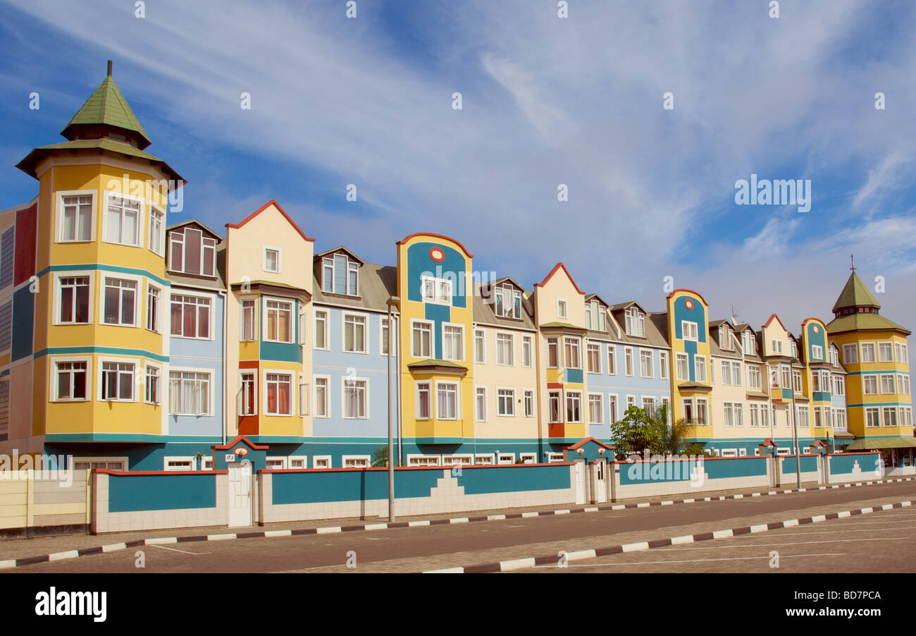 Residential houses Swakopmund, early on a Sunday morning - Stock Image