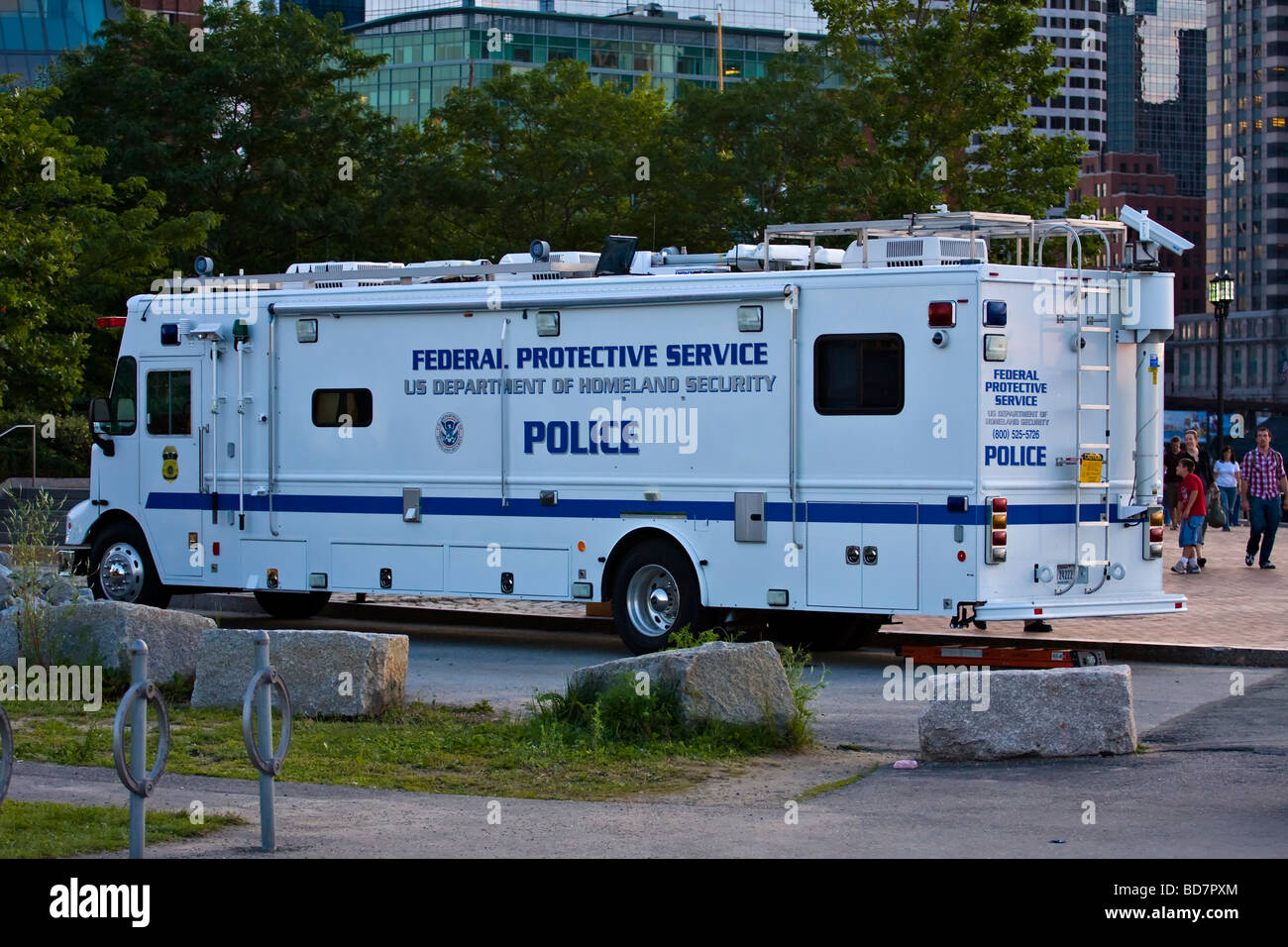 United States Department of Homeland Security.  Federal Protective Service Police Mobile Command Unit. - Stock Image