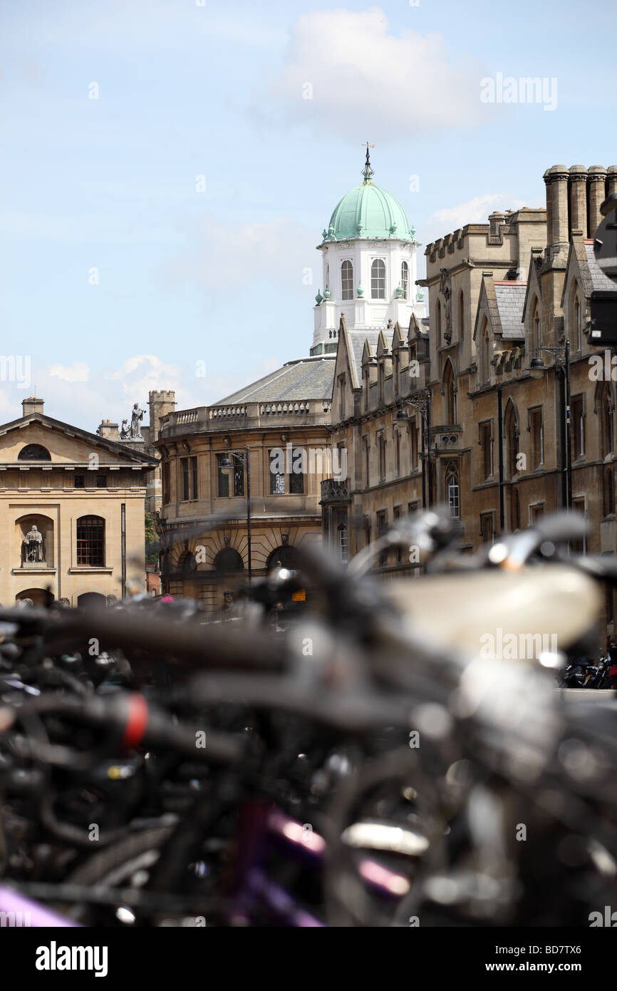 View from broad street Oxford towards the Sheldonian Theater. Stock Photo