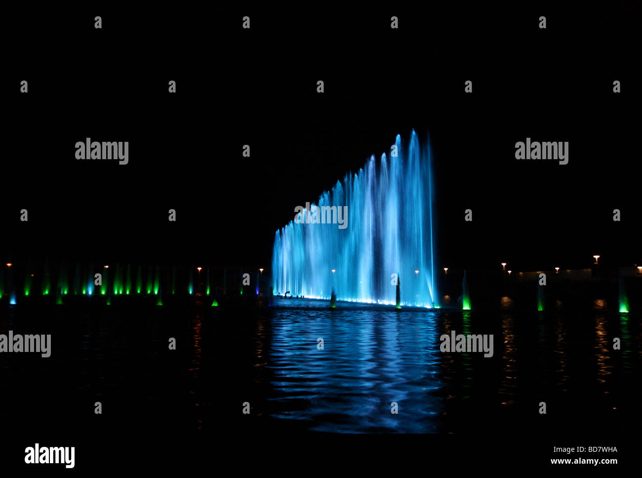 Multimedia fountain in Wroclaw, Poland at night - Stock Image