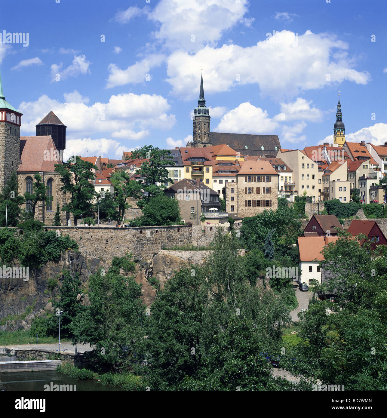 geography / travel, Germany, Saxony, Bautzen, city views, cityscape view from the Friedensbruecke towards the town, Stock Photo
