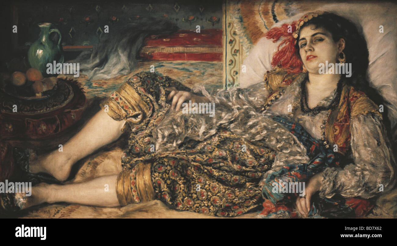 fine arts, Renoir, Pierre Auguste (1841 - 1919), painting 'Odalisque', oil on canvas, 1870, National Gallery - Stock Image
