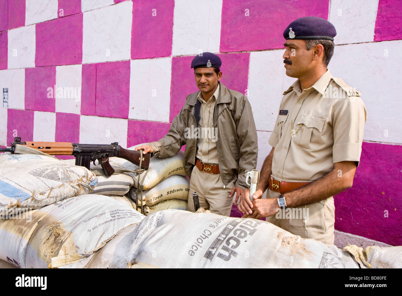 Policemen in Ahmedabad at the train station - Stock Image