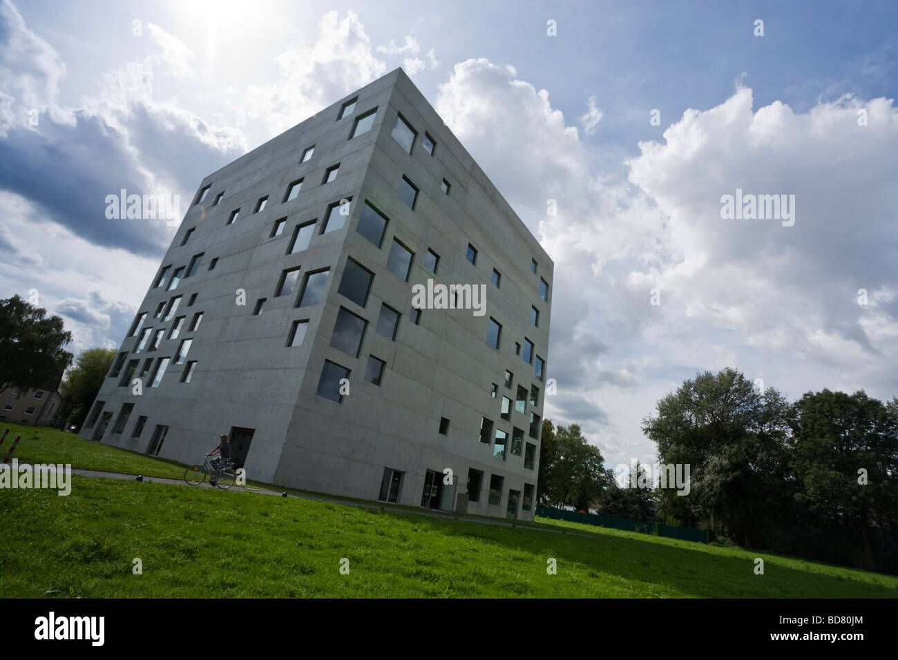 tilted view of Zollverein School For Management And Design building at the Zollverein Coal Mine Industrial Complex - Stock Image