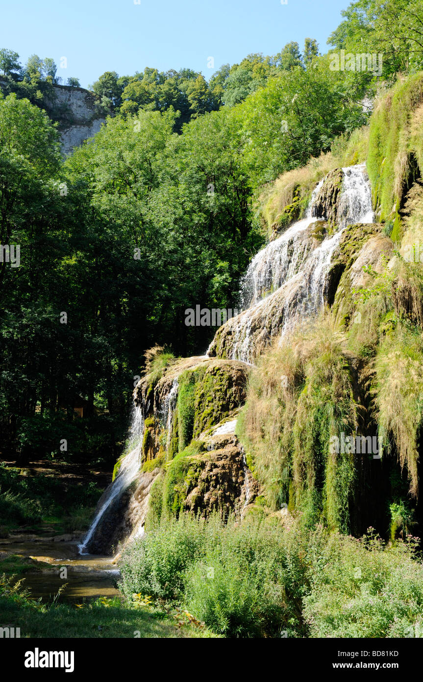 Waterfall in the Cirque de Baume, France. - Stock Image