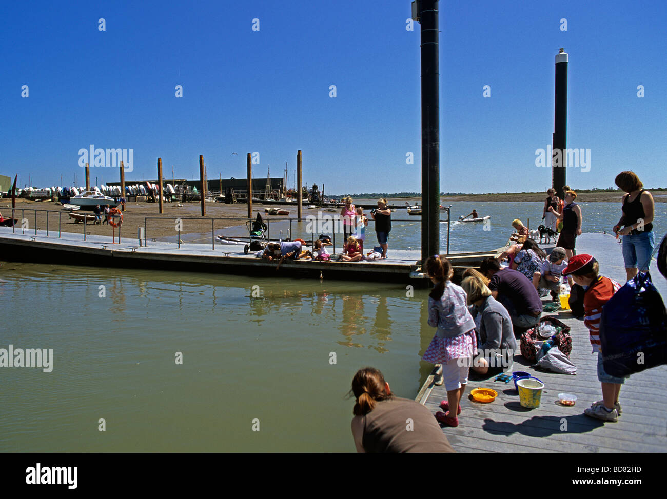 Children and parents crabbing from the municipal dock at Brightlingsea on the River Colne in Essex - Stock Image