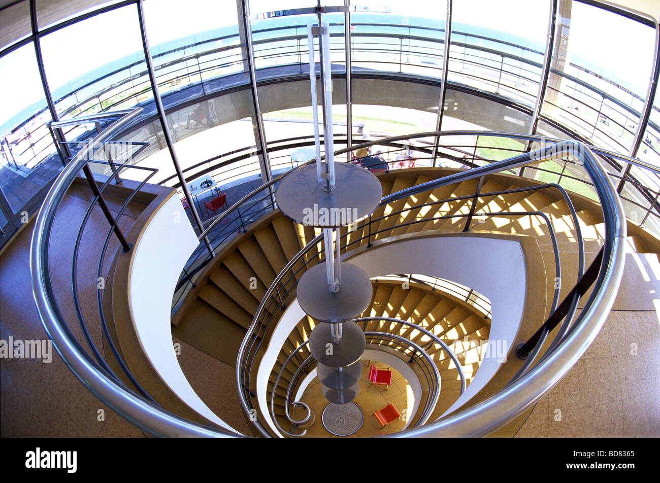 Spiral Staircase in the De La Warr Pavillion on the seafront of Bexhill on Sea East Sussex - Stock Image